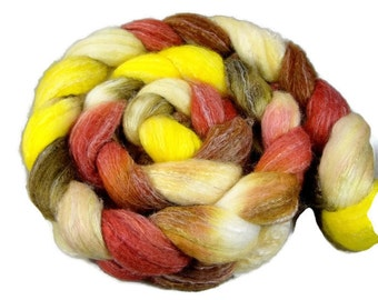 Merino wool, silk and bamboo hand paited roving, top 4 oz, fiber for spinning or felting