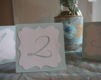 SETS of tented Wedding Table Number Cards , Light Blue/white