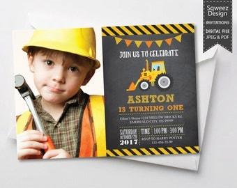 Construction Birthday Invitation, Construction Party, Construction Birthday, Construction Invitation, Boys Construction - JPEG & PDF File