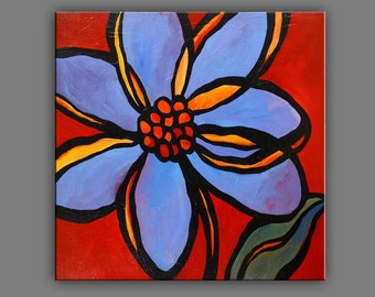 """24"""" x 24"""" Original Acrylic Painting Abstract Art Flowers Petals by Mike Daneshi. Free Shipping Within U.S.A. and CANADA"""