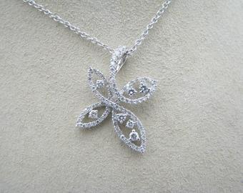 Divine Diamond Studded Looped Pendant in 18k White Gold on 14k WG Chain