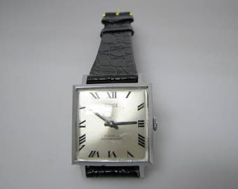 Retro Swank Watch Mechanical Hand Wind with Leather Band