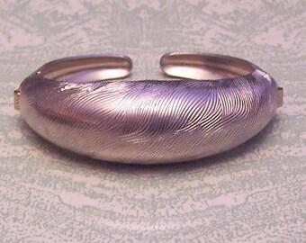 Vintage gold tone textured Coro Pegasus clamper cuff hinged bracelet