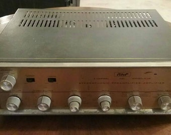 RARE vintage pilot 240 preamp stereo tube amplifier as is