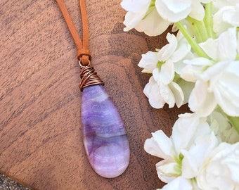 Purple Jasper Necklace on Suede Cord