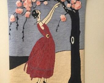 """Hand hooked rug """"Art Deco Girl"""""""