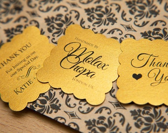 "Old Gold Pearlised 1.5 inch Square Shiny Stickers, Envelope Seals. Custom Gold Stickers. 1.5"" Save the date stickers. Invitation Seals."