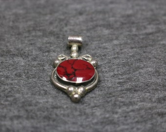 Sterling Silver Vintage Necklace Pendant with Gemstone