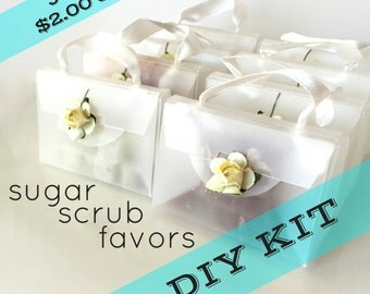 DIY KIT - 10 Discounted Bridal Shower Favors - Mini Sugar Scrubs - 20% OFF - Unique Frosted Purses with Paper Rose