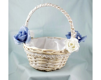 White Wicker Flower Girl Basket - Cinderella Wedding - Blue Roses - Satin Lining