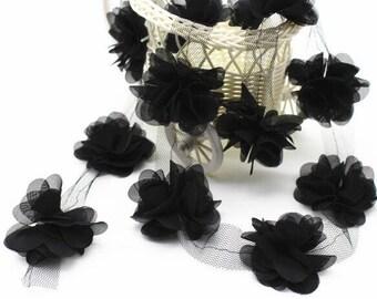 3D Black flowers Chiffon trim, lace trim, wedding lace trim, bridal lace trim