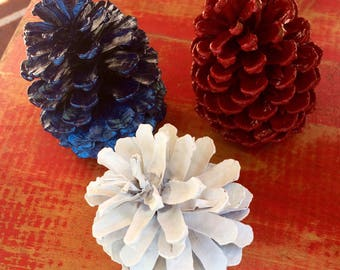 Colorful Patriotic Painted Pinecones - Bag of 15 pieces