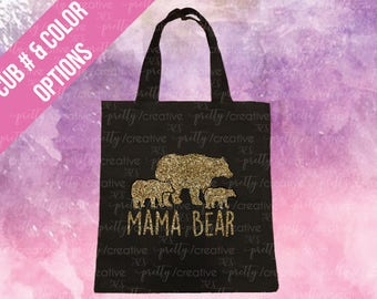 Mama Bear Personalized Black Soft Canvas Tote -  Silver or Gold Glitter Text