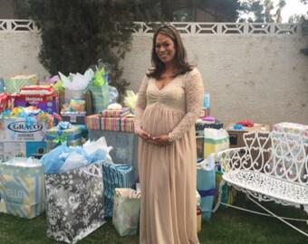 baby shower dress champagne lace chiffon long sleeves maternity gown long sleeves maternity dress