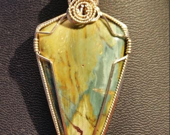Green Swamp jasper pendant necklace in 14 K gold filled wire