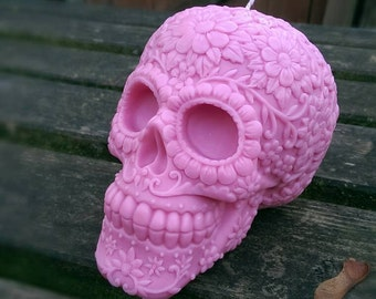 Beautiful pink sugar skull candle. Made with soy pillar wax hand poured in Hull,UK