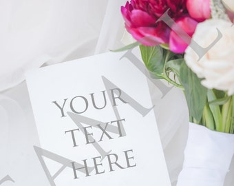 Blank stock photo of invitation with bouquet of flowers - perfect for wedding stationery on social media