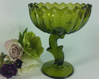 Vintage Indiana Lotus Blossom Pedestal Compote