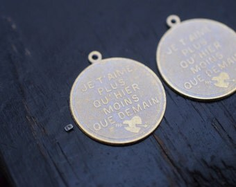 Matte Gold Whitewash Patina French Brass Pendants, 2pcs