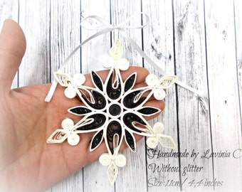 Black/White  Snowflake Christmas Tree Ornament-Without glitter-size 11 cm/4,4 inches