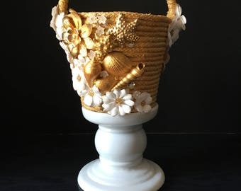 Golden Floral/Shell Flower Girl Basket