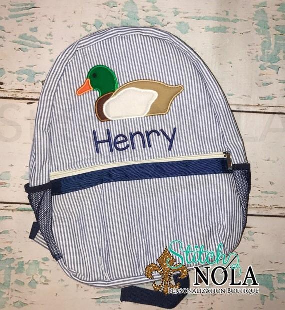 Seersucker Backpack with Mallard Duck, Seersucker Diaper Bag, Seersucker School Bag, Seersucker Bag, Diaper Bag, School Bag, Book Bag, Backp