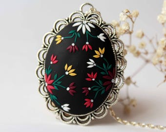 Black and yellow necklace, colorful necklace, flower necklace, romantic necklace, gift for her, embroidered necklace, gothic victorian, red
