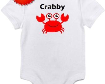 Crabby Crab cute funny onesie bodysuit newborn / 0-3 / 3-6 / 6-12 / 18 24 month