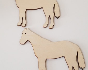 Set of 6 Wooden Horse Cut Outs ( Embellishments, Scrap Booking, Decoupage...)