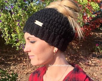 Messy Bun Beanie - Messy Bun Hat - Ponytail Hat - Bun Beanie - Crochet Beanie - Messy Pony Beanie - Crochet Hat  - Valentines - gift for her