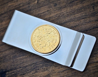 1966 Sixpence Money Clip 24k Gold Plated