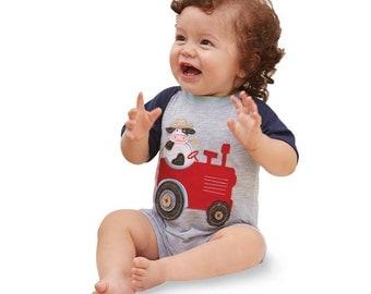 Tractor Raglan One Piece by Mud Pie, baby raglan, cute, summer, tractor, cows, farmers