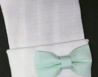 Newborn Hospital Hat with Mint Green Bow. Beautiful Bow for a Beautiful Baby! You will Love this! Perfect Gift! Baby 1st Keepsake