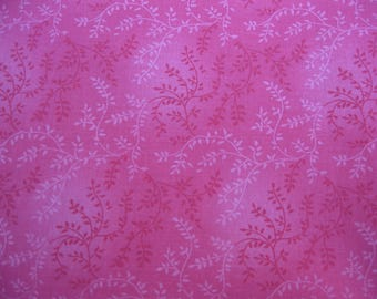 100 percent cotton fabric/pink/with flower vines/quilting/crafts/apparel