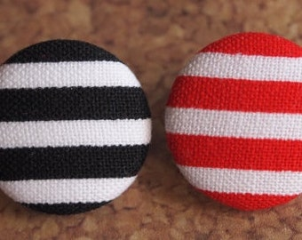 striped fabric covered buttons (size 60, 40, 32, 20, or 18) Christmas buttons, red striped buttons, black striped buttons, candy cane button