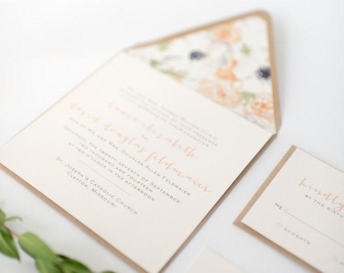 laura wedding invitation sample set -  simple, rustic // lola louie paperie