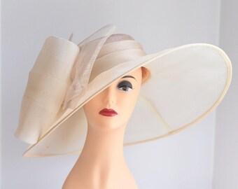 Church Kentucky Derby Carriage Tea Party Wedding Wide Brim Woman's Royal Ascot Hat Wide Brim Sinamay Hat w Organza Sand/Cream
