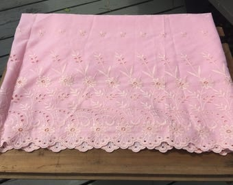 Eyelet fabric vintage pink border cotton curtains dress