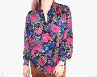 90's Oversized Floral Print Long Sleeve Silk Button Up Blouse