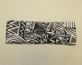 Tribal Black and Ivory Turban Twist Head Wrap Headband