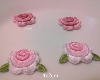 Wholesale lot  40pcs   3d  flower  Pink   embroidered iron on patch