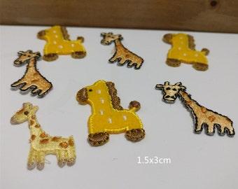 Wholesale Lot  7pcs  giraffe  iron on patch  1x3cm
