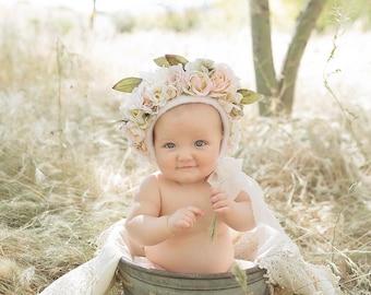 Floral bonnet, sitter, photo prop, spring,RTS