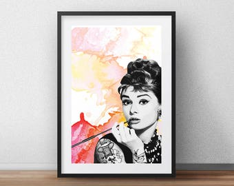 Audrey Hepburn Art Print - Original Art Print -  Watercolour - Tattoo - Photo - poster