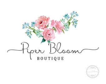 Premade Logo Rustic Floral Peonies Pink Watercolor Calligraphy Modern Custom Shop Logo Business Card Branding Design Wedding Signs LD030
