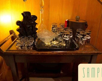 This Photo is a Sample of a Custom designed vintage bar barware set up just for you
