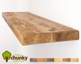 Rustic Floating Shelves | Deep Solid Wood Wall Shelf | 30cm deep x 5cm thick | Funky Chunky Furniture Shelving | 12x2