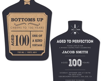 100th Milestone Birthday - Aged to Perfection Invitations - Personalized Birthday Party Invites  - Set of 12