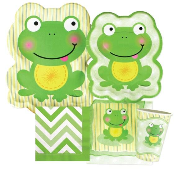 Froggy Frog Green Chevron Tableware Kit