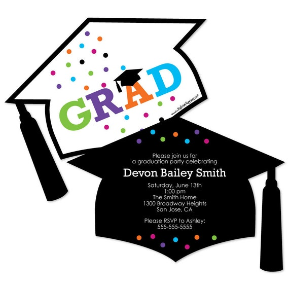 Hats off grad shaped graduation invitations custom graduation il570xn filmwisefo